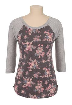 3/4 sleeve floral print baseball tee (original price, $26) available at #Maurices