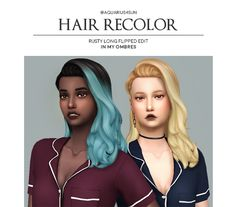 rusty's Long Flipped Edit- recolored in my ombres Sims 4 Cc Packs, Sims 4 Mm Cc, Sims 4 Cas, My Sims, Maxis, Sims Stories, The Sims 4 Cabelos, Sims Hair, Sims 4 Clothing