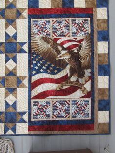 Eagle of Freedom Quilt of Valor red white blue by phyllisschrag, $65.00