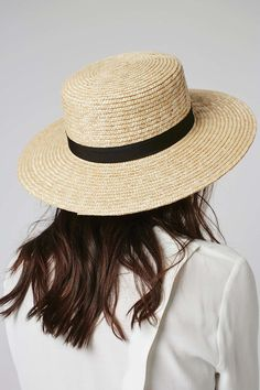 Natural Straw Boater Hat - Topshop