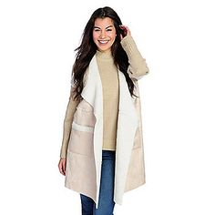 e5f6e33ccb6bd WD.NY Faux Sherpa  amp  Sweater Knit Open Front Duster Cardigan Sherpa  Sweater
