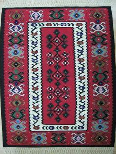 Pirot, serbia Pirotski ćilim, kreacija Zadruge Damsko srce Pagan Symbols, Tapestry Weaving, Carpets, Embellishments, Bohemian Rug, Folk, Chairs, French, Traditional