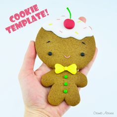 Gingerbread Man - COOKIE TEMPLATE Gingerbread Man Template, Gingerbread Man Cookies, Christmas Cookies, Christmas Ornaments, Cake Topper Tutorial, Cake Toppers, Gum Paste, Fondant, Goodies