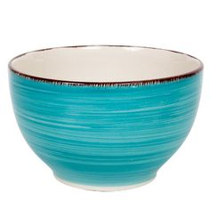 Deep turquoise stoneware bowls with a calming swirl pattern and brown accents on the trim are an easy way to brighten up the dinner table. Festive stoneware bowls are microwave and dishwasher safe. Pa