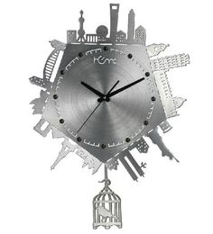 Famous Scenic Spots Collocation Metal Modern Wall Clock