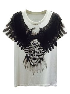 White, 3D, Unisex, Fierce Eagle, And Letter Print, T-shirt
