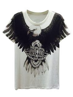 White, 3D, Unisex, Fierce Eagle, And Letter Print, T-shirt