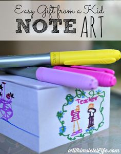 Easy craft for kids to make for Father's Day, Mother's Day, teachers, birthdays or any holiday!  Have your children give the gift of their own creativity!  This post tells you where to find those white note cubes (not easy!).