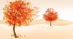 рисунок, осень, деревья, листва, ветер