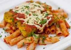 Polenta Parmesan Over Penne - The Blissful Bean