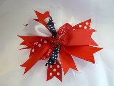 Red White and Blue Hair Bow  4 1/2 inch by EstherLouiseDesigns, $4.50