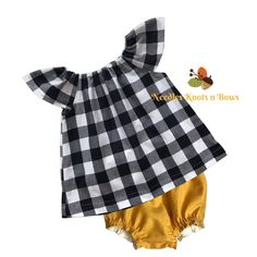 Girls Black Buffalo Plaid Dress, Mustard Bloomers, Baby Dress Girls Fall Dresses, Girls Fall Outfits, Girls Coming Home Outfit, Plaid Outfits, Toddler Girl Dresses, Plaid Dress, Cake Smash Outfit Girl, Baby Girls, Toddler Girls