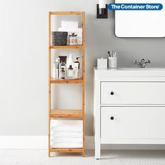 With its clean, uncluttered lines and natural materials, this bamboo tower brings an instant sense of order to any setting. Use it as a spa-like accent in a bath or dressing area. It's a fresh look anywhere you need extra storage, and it can even slide into service as an office bookcase. Staying Organized, Bathroom Storage Solutions, Unclutter, Storage Towers, Shelves, Small Spaces, Office Bookcase, Bamboo Shelf, Shelving