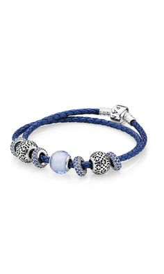 Style the new metallic blue woven leather bracelet with charms in matching blue shades. #PANDORA #PANDORAbracelet