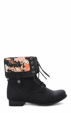 782563efa650 Deb Shops  Combat  Boot with  Floral Fold Over Cuff and Lace Up Front
