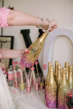 Glitter Covered Champagne Bottles 21st Birthday Ideas For Girls Turning 21 Party