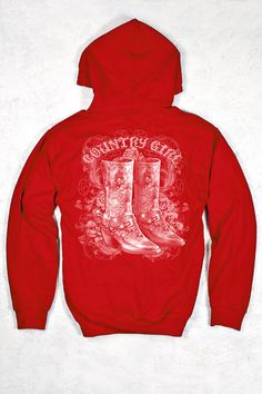 BACK VIEW - Red - Women's Country Girl® Swirl Boots Relaxed Pullover Hoodie