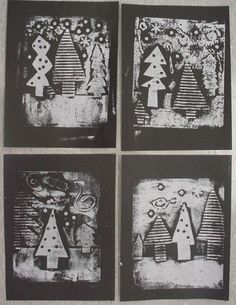 Knights Smartest Artists: First Look at Evergreen Collagraph Prints!--use texture plates? for the trees make texture then cut shape to put on black paper Christmas Art Projects, Winter Art Projects, School Art Projects, 6th Grade Art, Theme Noel, Kindergarten Art, Art Lessons Elementary, Art Lesson Plans, Art Classroom