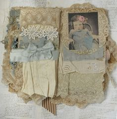 Mixed Media Fabric Collage Book of Little Girls and Roses | eBay