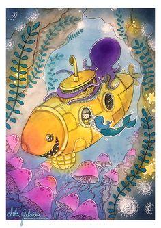 Yellow Mermaid Submarine Adventure print