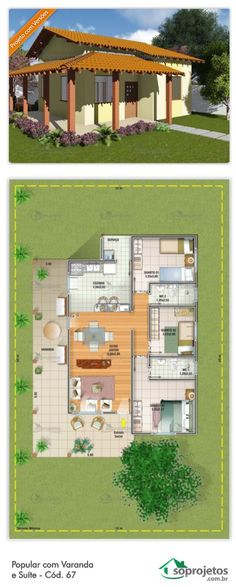 House Plan with 2 bedrooms and 1 suite - Cód. Dream House Plans, Modern House Plans, Small House Plans, House Floor Plans, My Dream Home, Home Design Plans, Plan Design, Sims House, Building Plans