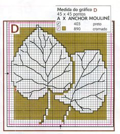 Punto de cruz: Esquemas de hojas de árboles en punto de cruz