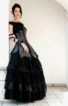 Black Ruffles Gown with Leather Corset