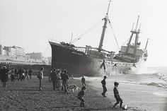 Archive photograph of the Athina B when it ran aground on Brighton beach (1980)