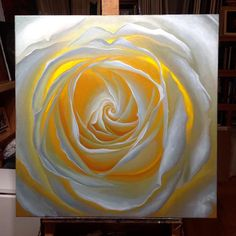 Inner Light II Oil painting of a whiterose. This painting is almost finished. Maybe a few more touches up, and then it will need to dry for 4 weeks before alight protective varnish can go on. All in all, should be ready to ship in mid March 2017.  Size: 80x80cm oil onlinen  Price: 2400Euro - Unframed   You can now pay for this painting in 10 easy payments. Read More  vincentkeeling@gmail.com  FREE SHIPPING!  Find me on facebook https://www.facebook.com/VincentKeelingAr...