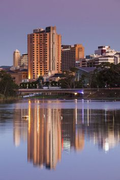 """Photograph-Australia, South Australia, Adelaide, skyline from Torrens Lake, daytime, dusk-10""""x8"""" Photo Print expertly made in the USA Seattle Skyline, New York Skyline, Living In Adelaide, South Australia, Dusk, Photographic Prints, Wall Art, City, Travel"""