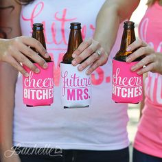 Super cute bachelorette party koozies for the bride, maid of honor, and bridesmaids by Bachette!