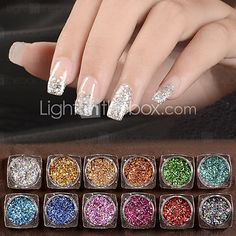 12 Colors Acrylic Nail Art Glitter Powder Dust Holographic Laser Sequins Manicure Tools DIY Nail Art Tips Decoration Acrylic Nail Art, Nail Art Hacks, 3d Nails, Nail Art Diy, Cute Nails, Holographic Powder, Holographic Nails, Glitter Dust, Glitter Nail Art