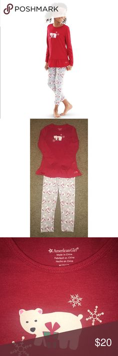 American Girl Polar Bear Pajamas Pre•loved American Girl Polar Bear Pajamas. Size 10/12. Just like the doll-sized version, these PJ's are fun and festive and will keep your girl comfy on chilly winter nights. The red heathered top has a ruffle hem for a sweet fancy touch and a cute polar bear and snowflake graphic on the front. The knit leggings have a polar bear print and an easy elastic waist. Polyester/spandex. EUC American Girl Matching Sets