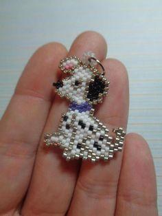 dog charm beaded dog dalmatian dalmatian by Creadivacreations