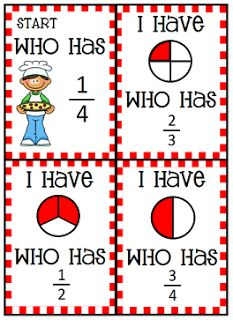 I Have, Who Has Pizza Fraction Cards