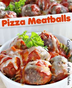 Pizza Meatballs | Can't Stay Out of the Kitchen | scrumptious #meatball recipe with #MontereyJackcheese cubes in the middle. Tastes like eating pizza!