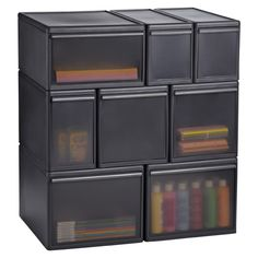 Like-it Smoke Modular Drawers (less stain factor vs white, harder to see items/good for kids BUT harder to match with other stg container due to color)