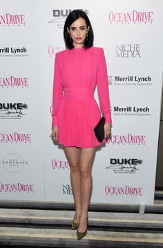 Krysten Ritter and pink Balmain dress at the Ocean Drive December Cover Party // Art Basel style