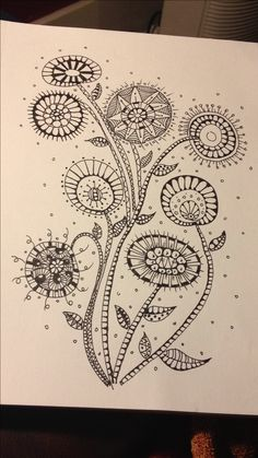 Pin by anita gerlinsky on zentangles and doodling zentangle, Zentangle Drawings, Doodles Zentangles, Doodle Drawings, Doodle Art, Zen Doodle, Doodle Designs, Doodle Patterns, Zentangle Patterns, Tangled Flower