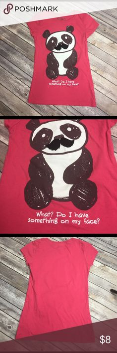 💜size 10/12 Mudd Tee Cute panda with moustache.  Gently preowned.  1️⃣ Mudd Shirts & Tops Tees - Short Sleeve