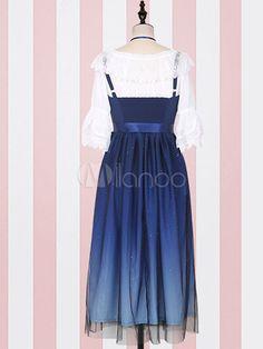 06f54c3dea Sweet Lolita JSK Dress Fantasy Starry Sky Ombre Pleated Tulle Deep Blue  Lolita Jumper Skirt  Fantasy
