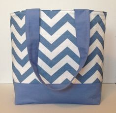 Beachy Blue and White Chevron Tote by WrapItUpByG on Etsy, $32.00