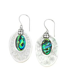 This Mother-Of-Pearl & Abalone Oval Drop Earrings is perfect! #zulilyfinds