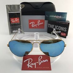 New Ray-Ban Aviator Sunglasses Ice Blue Mirror Lens Ray Ban P, Blue Mirrors, Laser Engraving, Aviation, Lens, Ice, Free Shipping, Sunglasses, Best Deals
