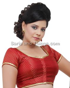 Maroon Brocade Readymade Partywear Saree Blouse X-108 | Saris and Things