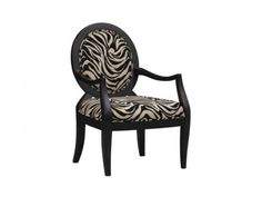 Black Finish Occasional Accent Chair Off-White Zebra Print