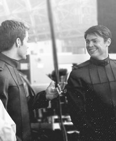 Kirk & McCoy - Not sure if this is Kirk and McCoy or a BTS shot of Chris Pine and Karl Urban. What makes me doubt is that McCoy doesn't do a lot of smiling - not that I remember, anyway. ;-) Regardless, it's a great shot.