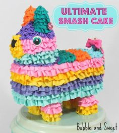The ultimate smash cake, by Bubble and Sweet: Pinata Rainbow Ruffle cake. The front part is cake, but if you smash the center, it's an edible pinata - filled with candy. Crazy Cakes, Bolo Pinata, Bolo Diy, Fiesta Cake, Cake Tutorial, Diy Tutorial, Cake Wrecks, Ruffle Cake, Diy Cake