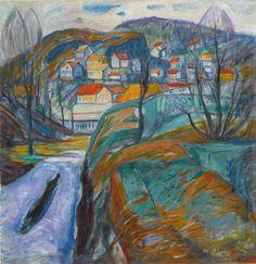 Edvard Munch (Norwegian, 1863-1944), KRAGERØ OM VÅREN [KRAGERØ IN SPRING], 1929. Oil on canvas, 38 ¾ by 37 ½ in. (98.4 by 95.3 cm)