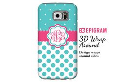 Monogram Samsung Galaxy S6 Edge case aqua polka by EpigramCases